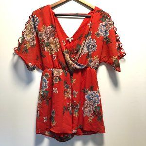 Charlotte Russe Double V Neck Printed Blouse Red S
